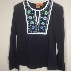 Tory Burch embroidered top wide sleeves sz M